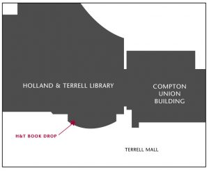 Outline of Holland and Terrell Library and Compton Union Building with the location of the book drop labeled