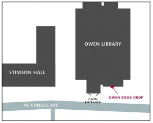 Outline of Owen Library along NE College Ave with the book drop labeled to the right of the main entrance