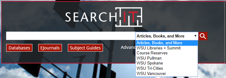 drop-down menu next to search bar to change scope
