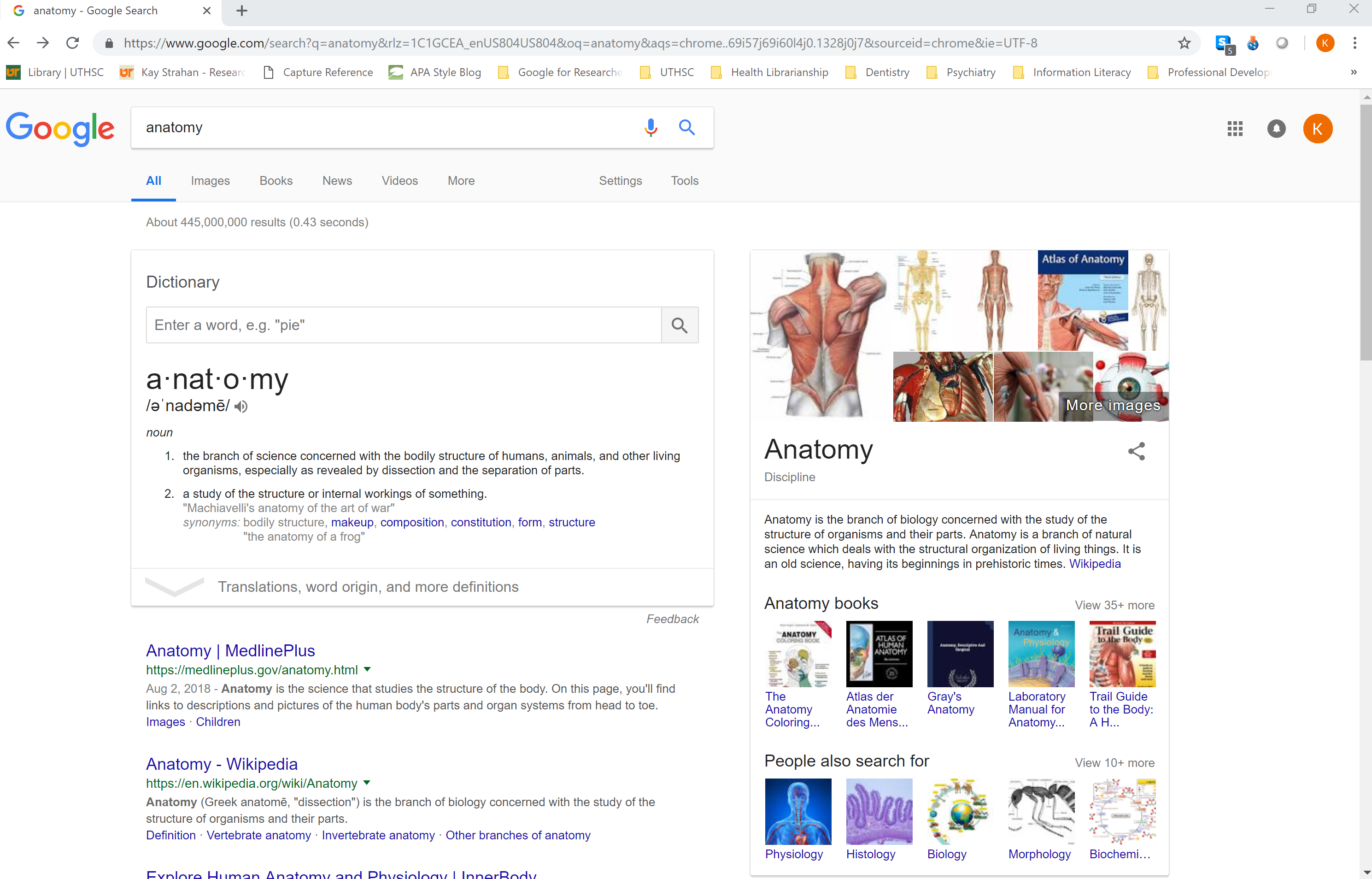 "screenshot of basic google search for ""anatomy"""