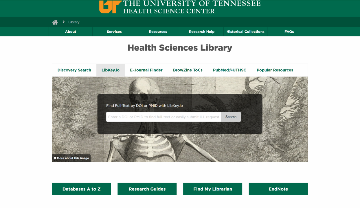 screenshot of health sciences library homepage with LibKey.io tab open