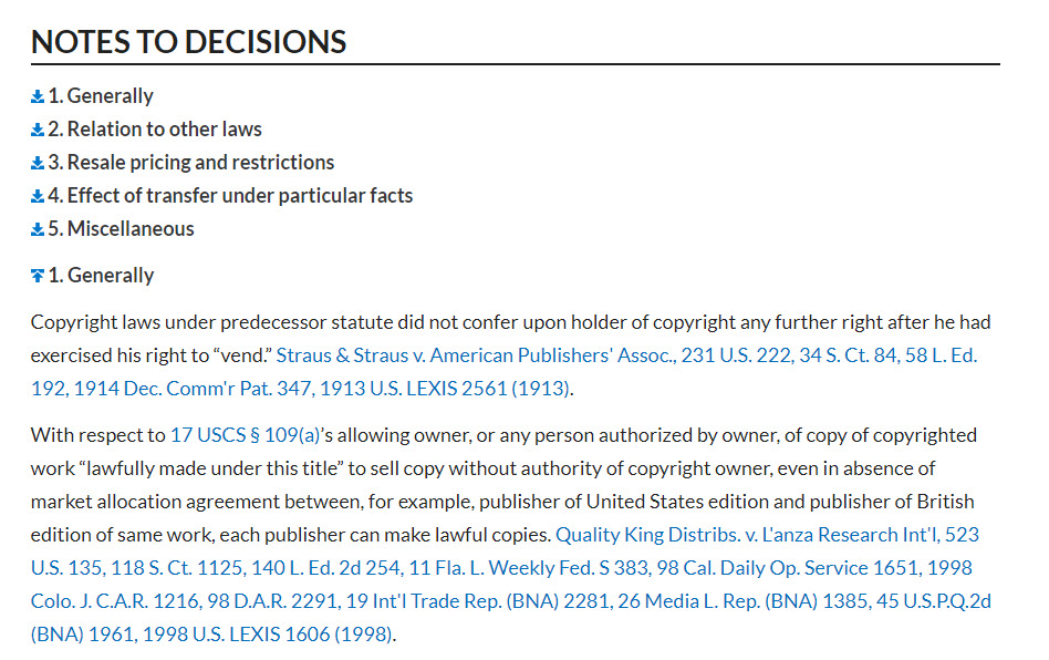 Screenshot of Lexis's Notes to Decisions for a statute, showing the list of topics and beginning of the list of cases arranged by topic