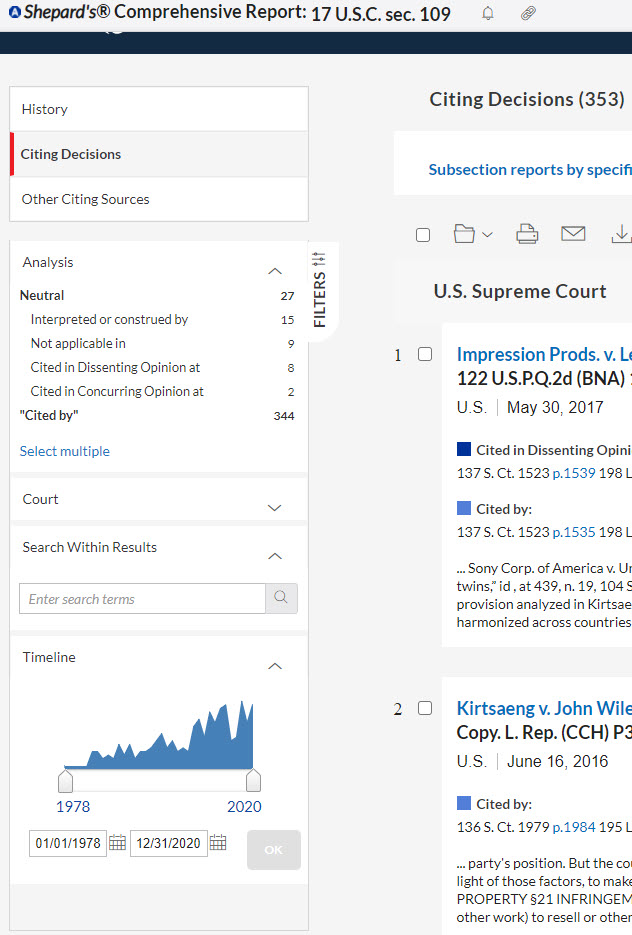 Screenshot of Lexis showing filters available for Shepard's report for a statute