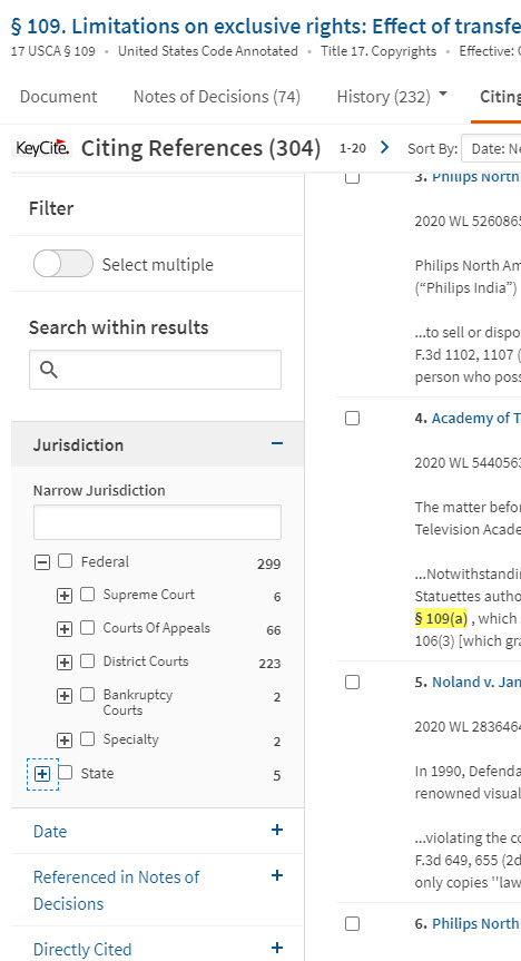 Screenshot of filter options to the left of list of cases in Citing References page on Westlaw