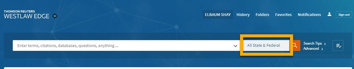 Screenshot of Westlaw search bar highlighting jurisdiction selection button
