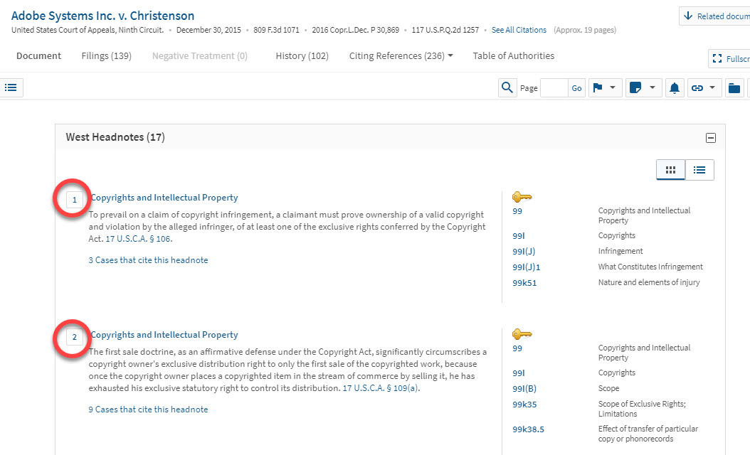 Screenshot of case headnotes in Westlaw, showing headnotes corresponding to numbers shown in previous screenshot