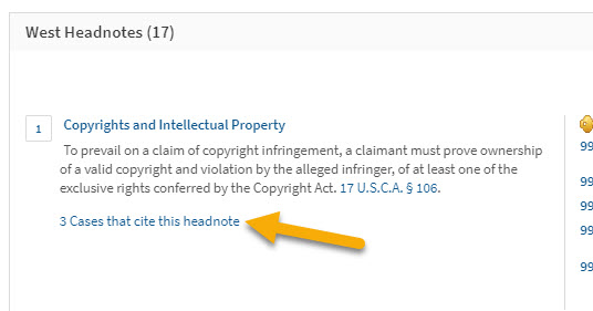 Screenshot showing location of link to cases citing a headnote, under the headnote's text