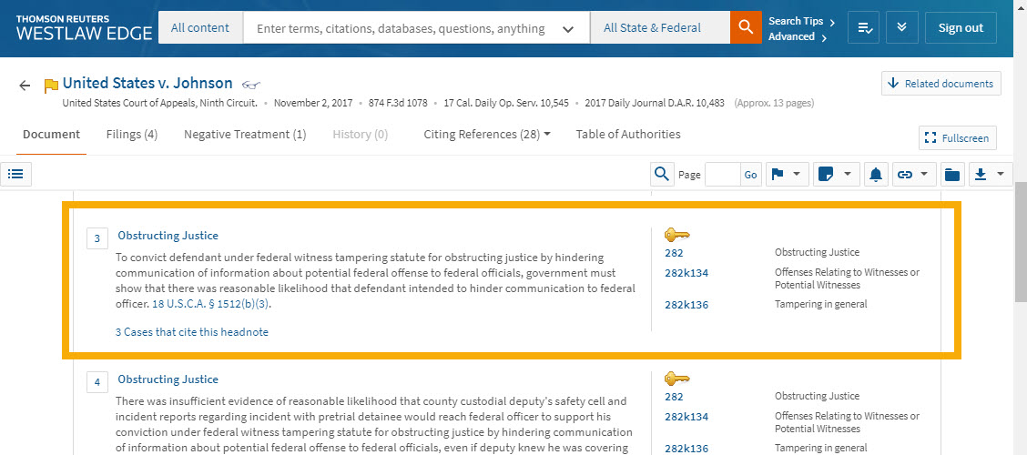 Screenshot of Westlaw page for United States v. Johnson, 874 F.3d 1078, showing Headnote 3 on Obstructing Justice