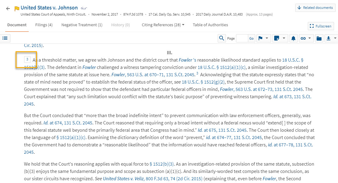 Screenshot of Westlaw page for United States v. Johnson, 874 F.3d 1078, showing case text corresponding to Headnote 3