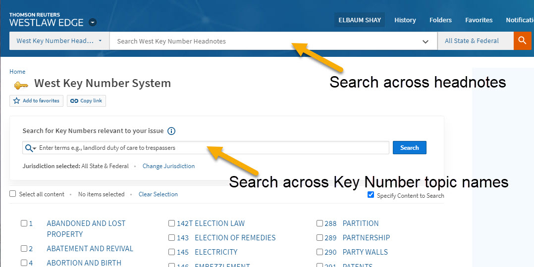 Screenshot highlighting different search bars: the main searchbar at the top of the page for searching West Key Number Headnotes, and the searchbar just above the list of topics for searching across Key Number topic names