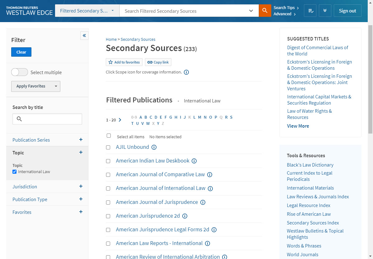 "Screenshot of Westlaw's list of secondary sources within the ""International Law"" topic"