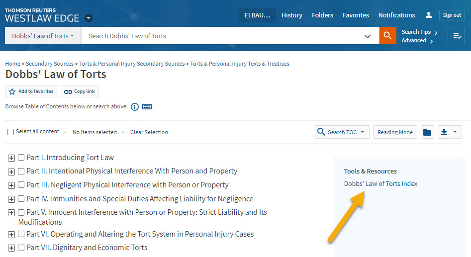 Screenshot of Westlaw showing the link to the index in the right-hand sidebar of a treatise's page.