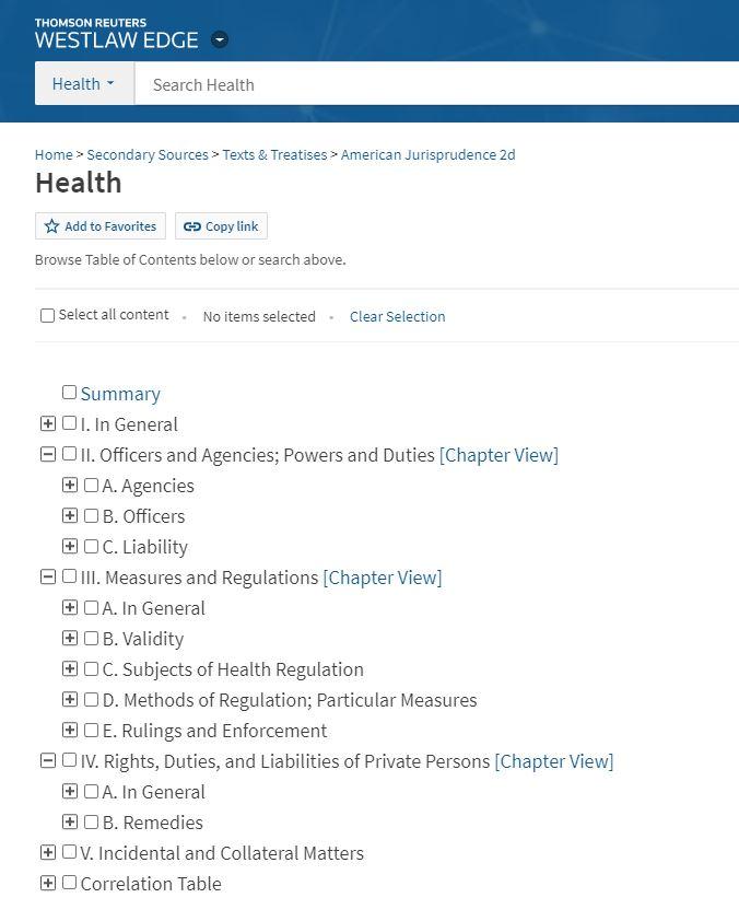 Screenshot image of Westlaw American Jurisprudence Second