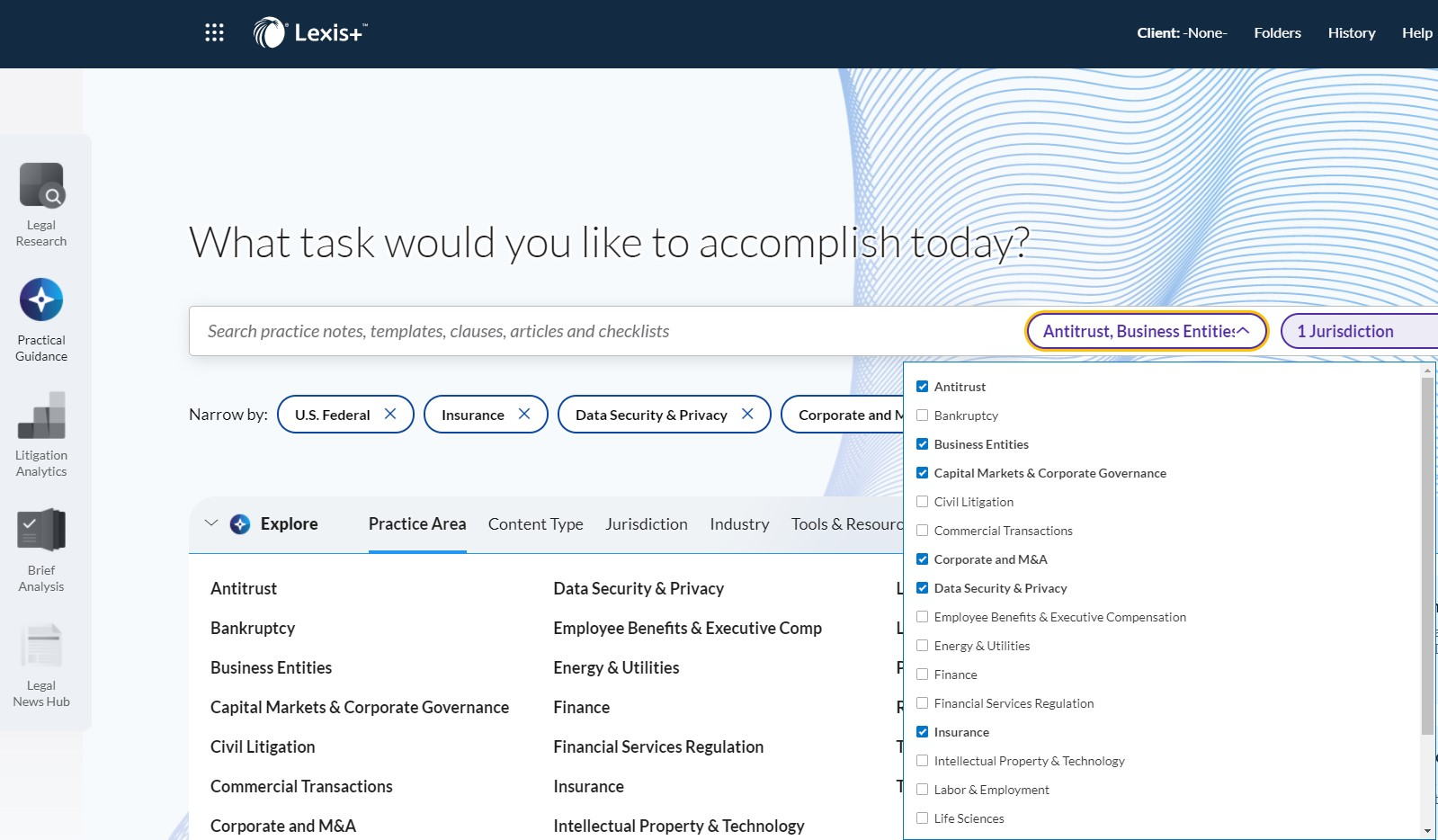 Screenshot image of Lexis Practical Guidance