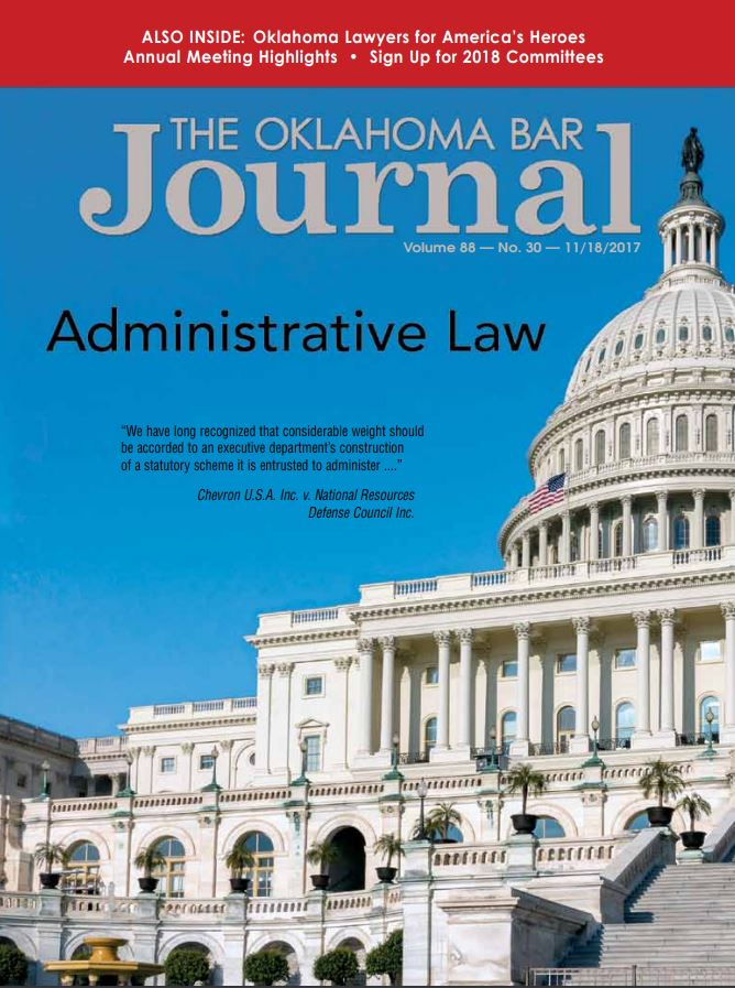 Cover of Oklahoma Bar Journal - Theme Issue on Administrative Law