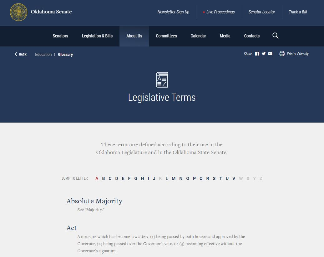 OK Legislative Terms Glossary