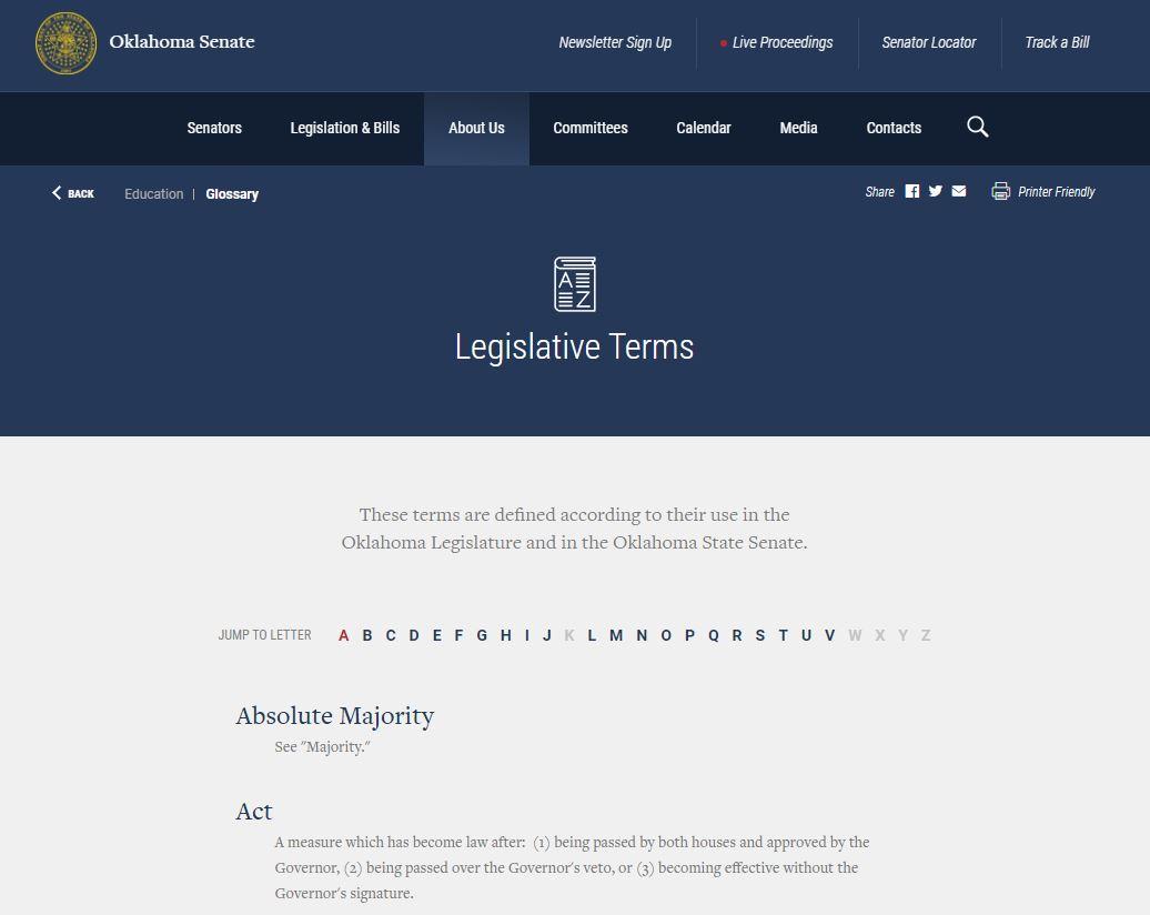OK Legislative Terms Glossary