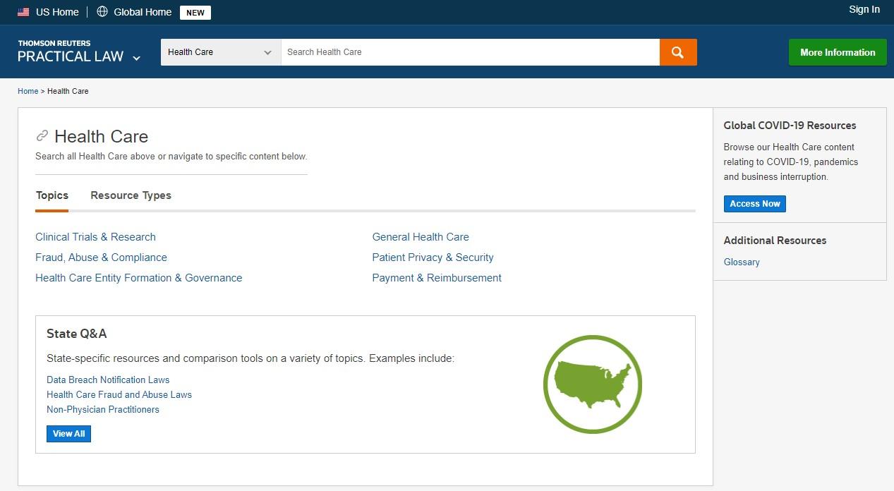 Screenshot image of practical Law Healthcare