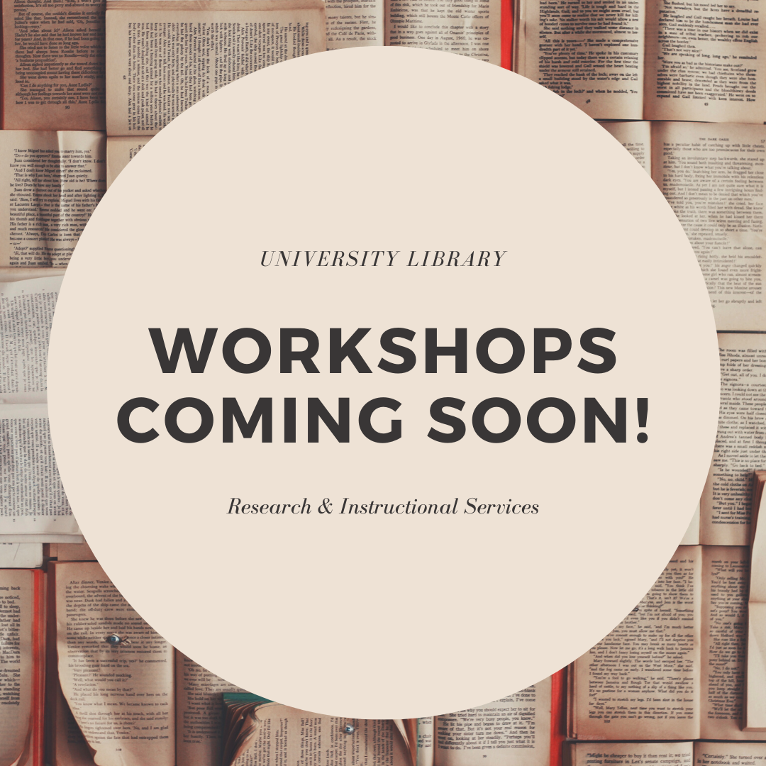 Workshops Coming Soon!