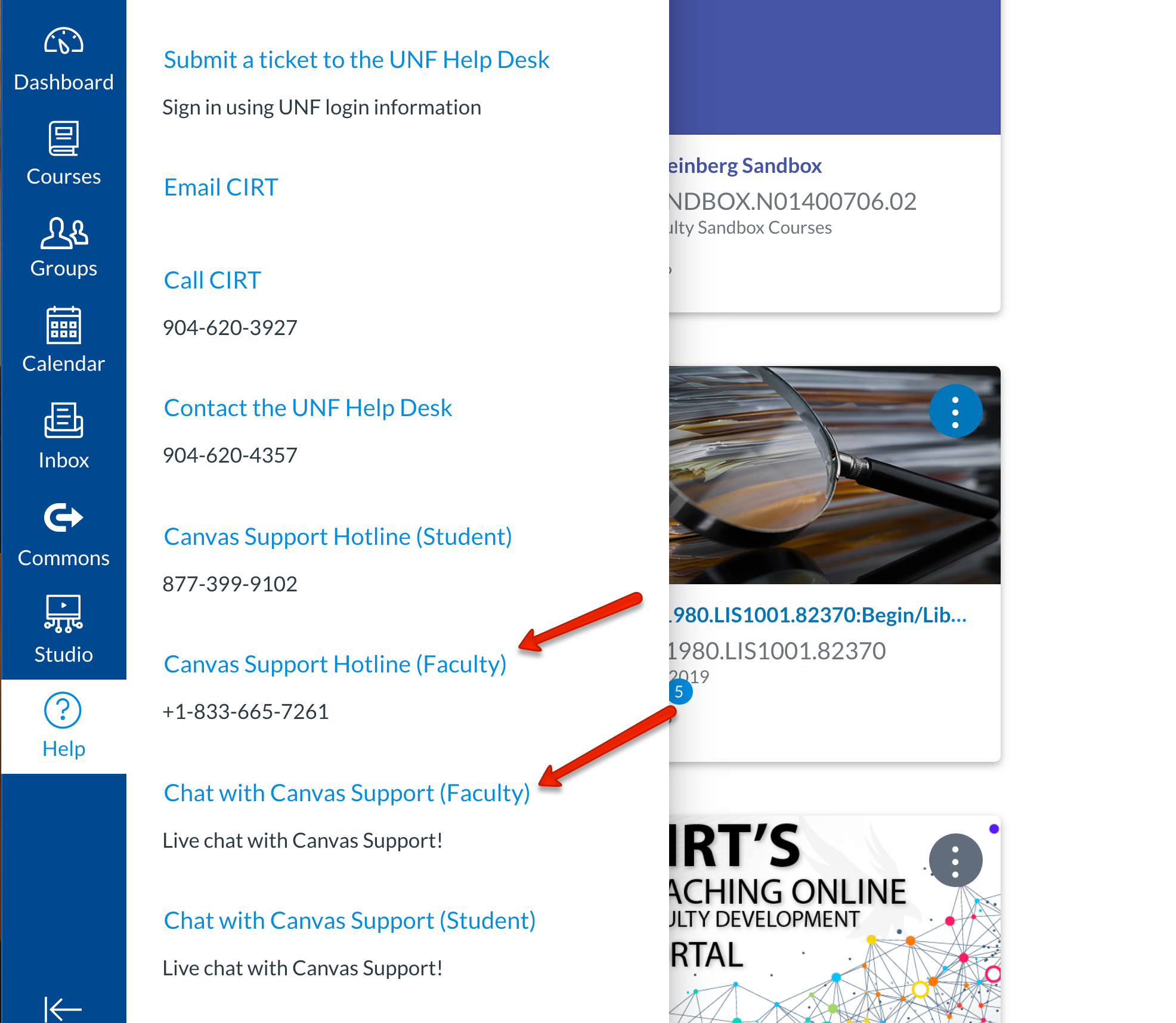 Image of Canvas menu with Canvas support links highlighted.