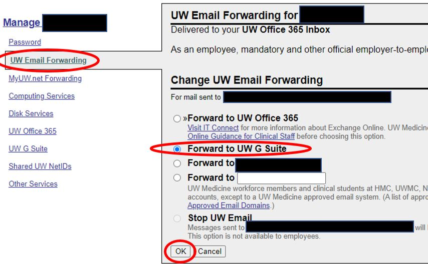 """Image of how to change UW email forwarding to """"UW G Suite""""."""