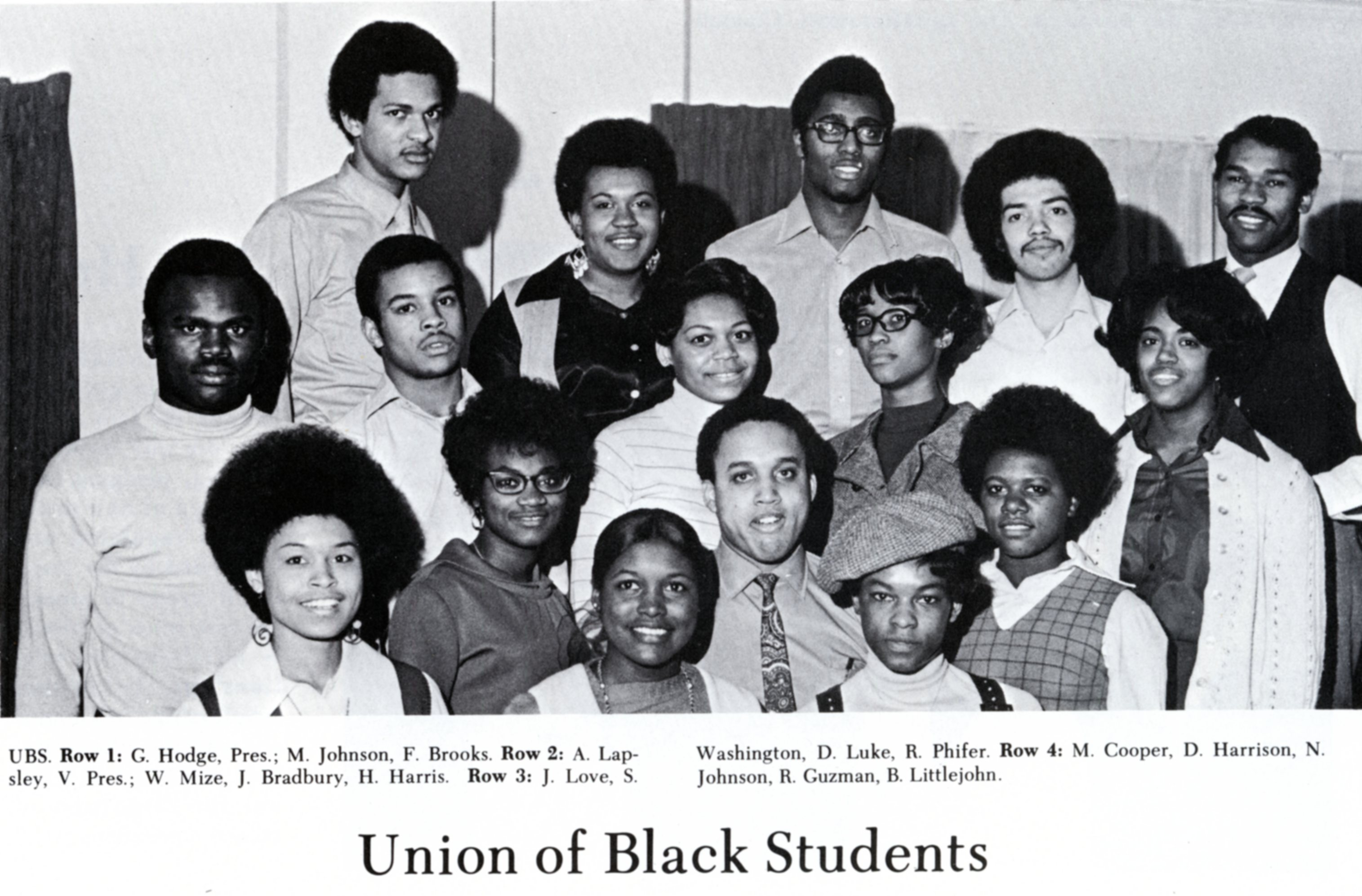 ONU Chapter of the Union of Black Students, 1970.