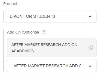 This image illustrates the product selection of the self-registration process for faculty/staff. In the drop-down menu below Product, EIKON FOR STUDENTS is selected. AFTER MARKET RESEARCH ADD ON ACADEMICS is selected as the Add On (Optional).