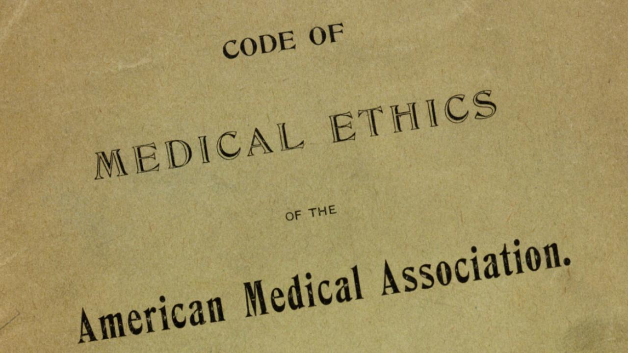 graphic with words code of medical ethics american medical association