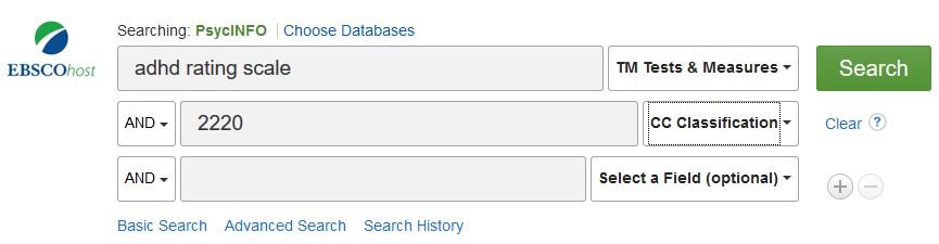 image of PsycInfo Reliability search