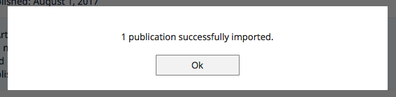 Screenshot illustrating that 1 publication successfully imported and to click OK to continue