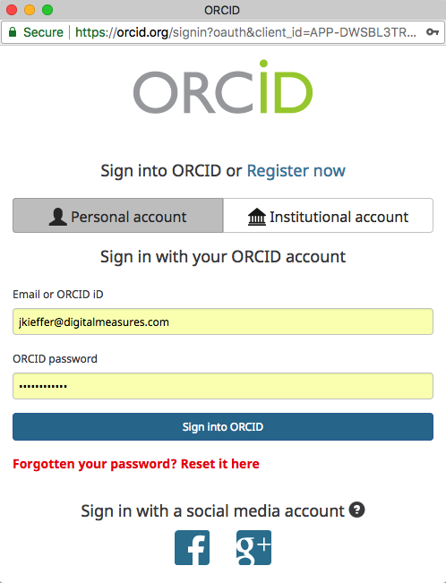 Screenshot of the ORCID sign-in homepage