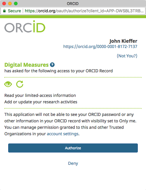 Screenshot of the authorization screen allowing TXST Digital Measures to securely access your ORCID record