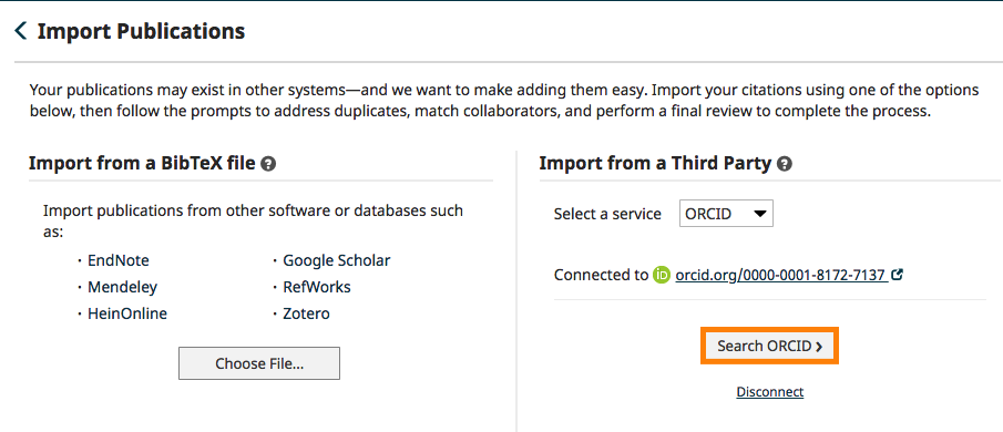 Screenshot of the Faculty Qualifications Import Publications screen once you have authorized ORCID