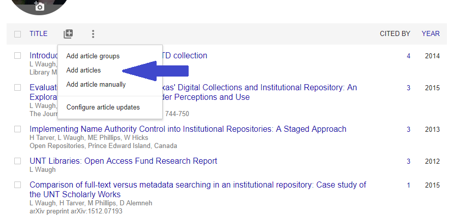 Screenshot of adding articles to Google Scholar