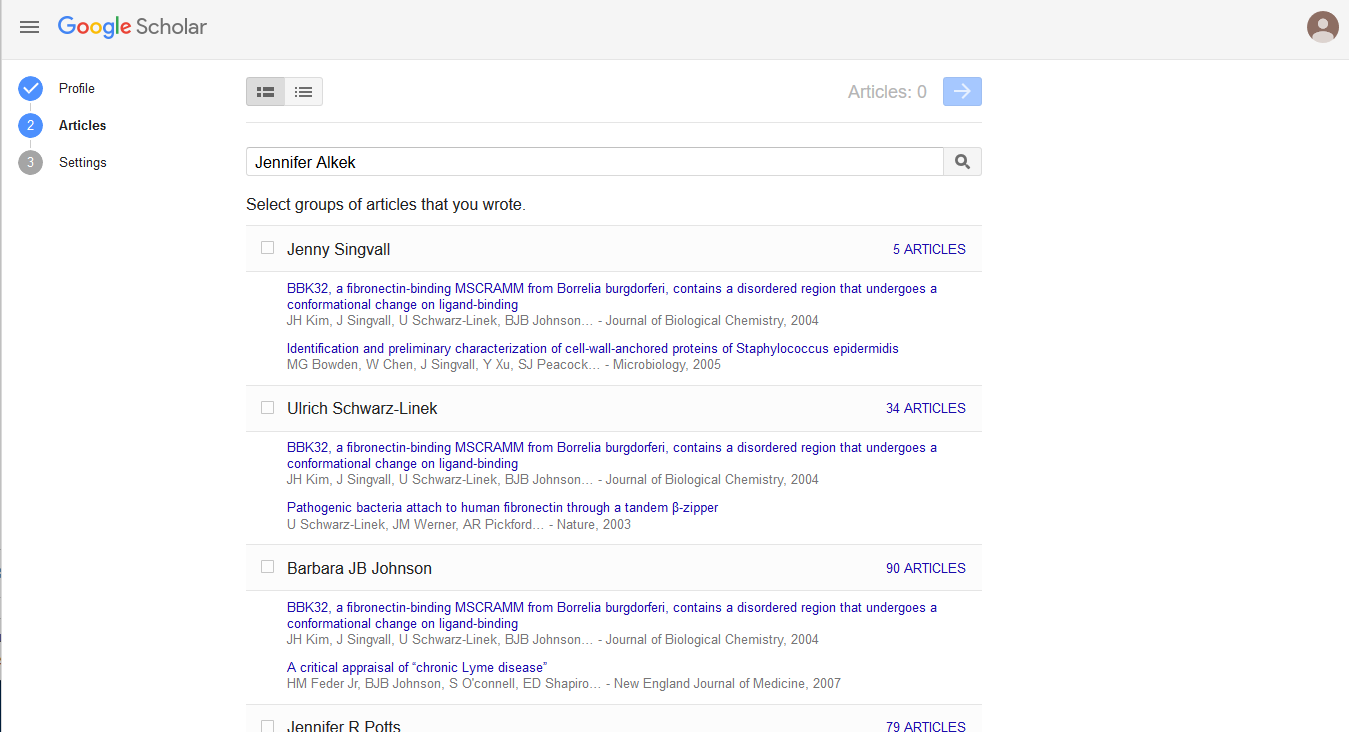 Screenshot of adding articles to Google Scholar profile