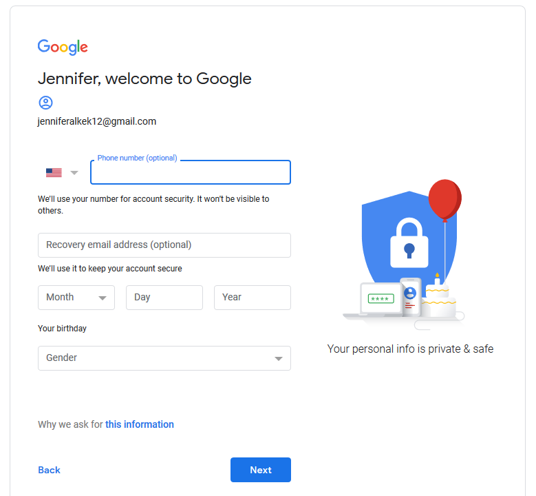 Screenshot of initial welcome to google