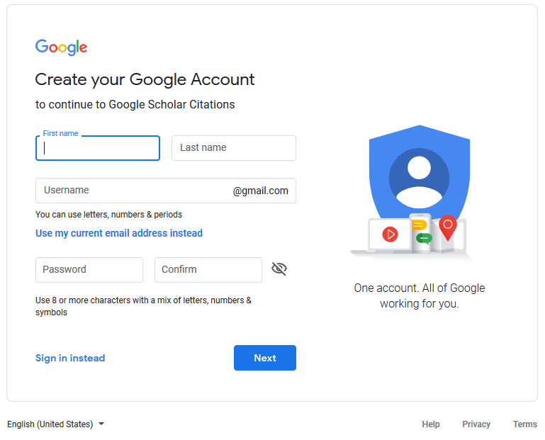 Screenshot of page to create a google account