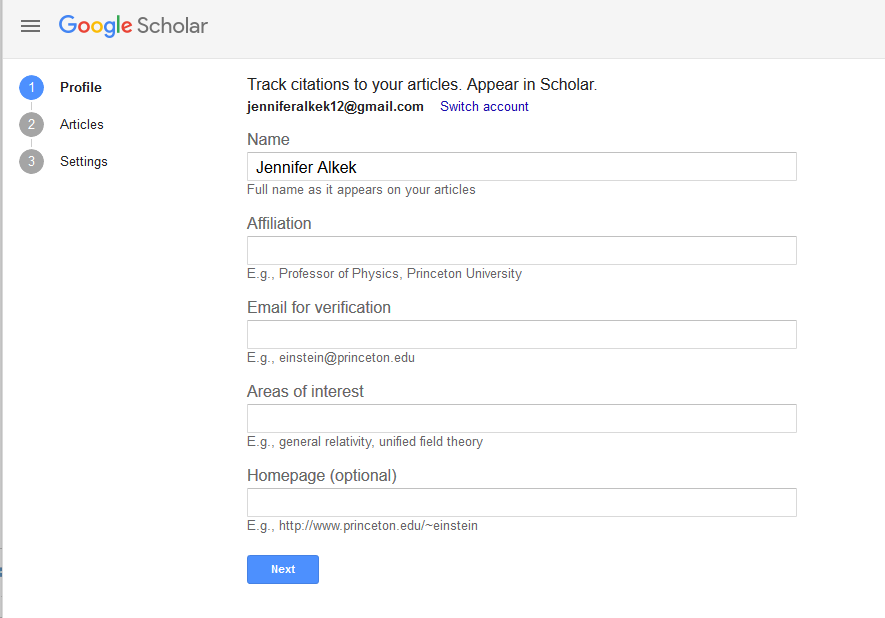 Screenshot of setting up profile in Google Scholar