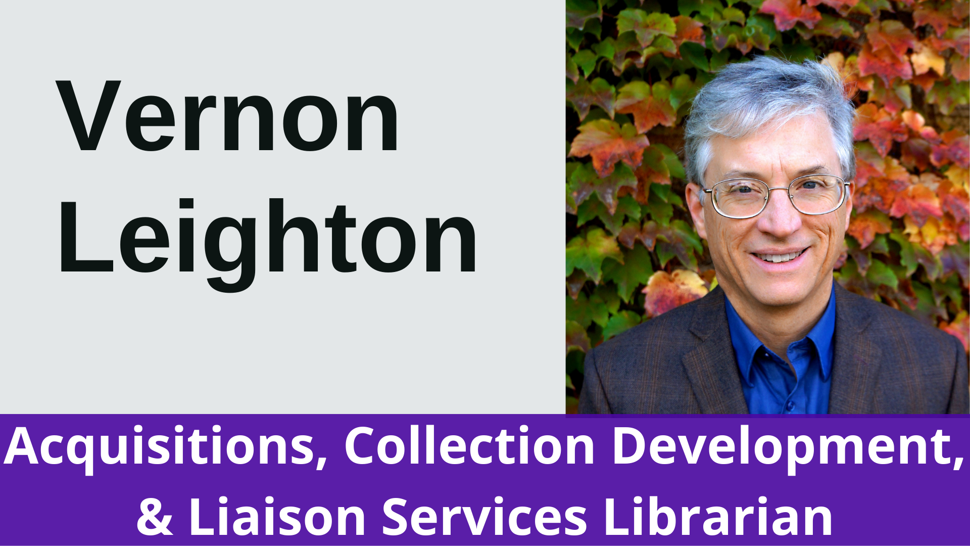 Vernon Leighton Acquisitions, Collection Development, and Liaison Services Librarian