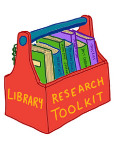 "illustration of a tool box with ""Library Research Toolkit"" written on the side. There are books inside the box. Image is decorative."