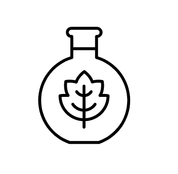 Line drawing of a maple leaf in a round bottle