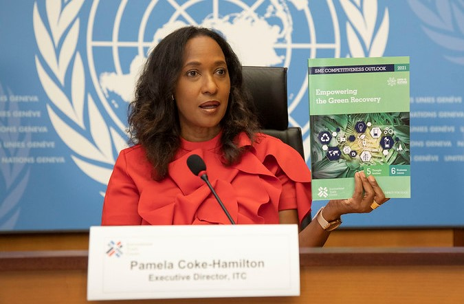 Pamela Coke-Hamilton, Executive Director of the International Trade Center (ITC), speaks at a press conference to launch the 2021 Competitiveness Outlook; 23 June 2021; ITC photo