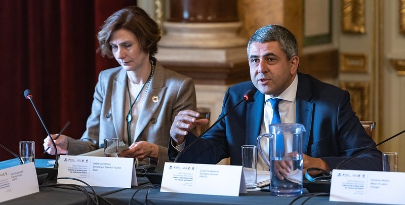 Zurab Pololikashvili, Secretary-General of the UNWTO, speaks at the Mayors Forum for Sustainable Urban Tourism; 2019. UNWTO Photo MRL_Mayors_Forum19-1105.  https://www.flickr.com/photos/unwto/33671997898/in/album-72157708012111594/