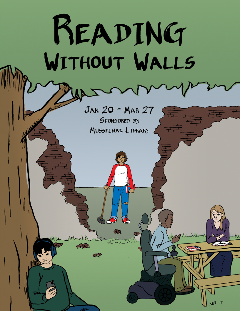 Reading Without Walls logo with person holding a hammer behind a broken down wall