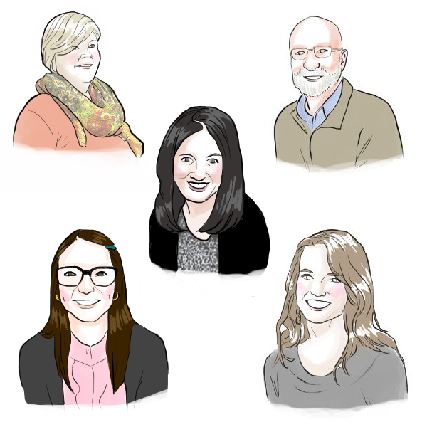 Portraits of all 5 librarians