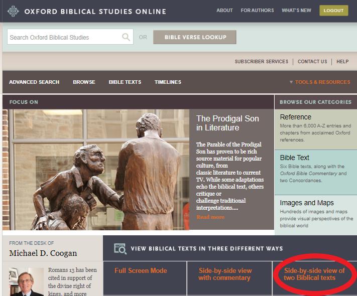 Oxford Biblical Studies Online landing page