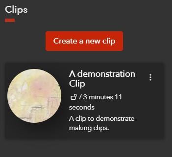 A screenshot showing a clip in the Clips sidebar in Docuseek 2.