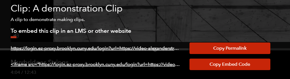 A screenshot showing URLs for sharing and embedding a film clip from Docuseek 2.