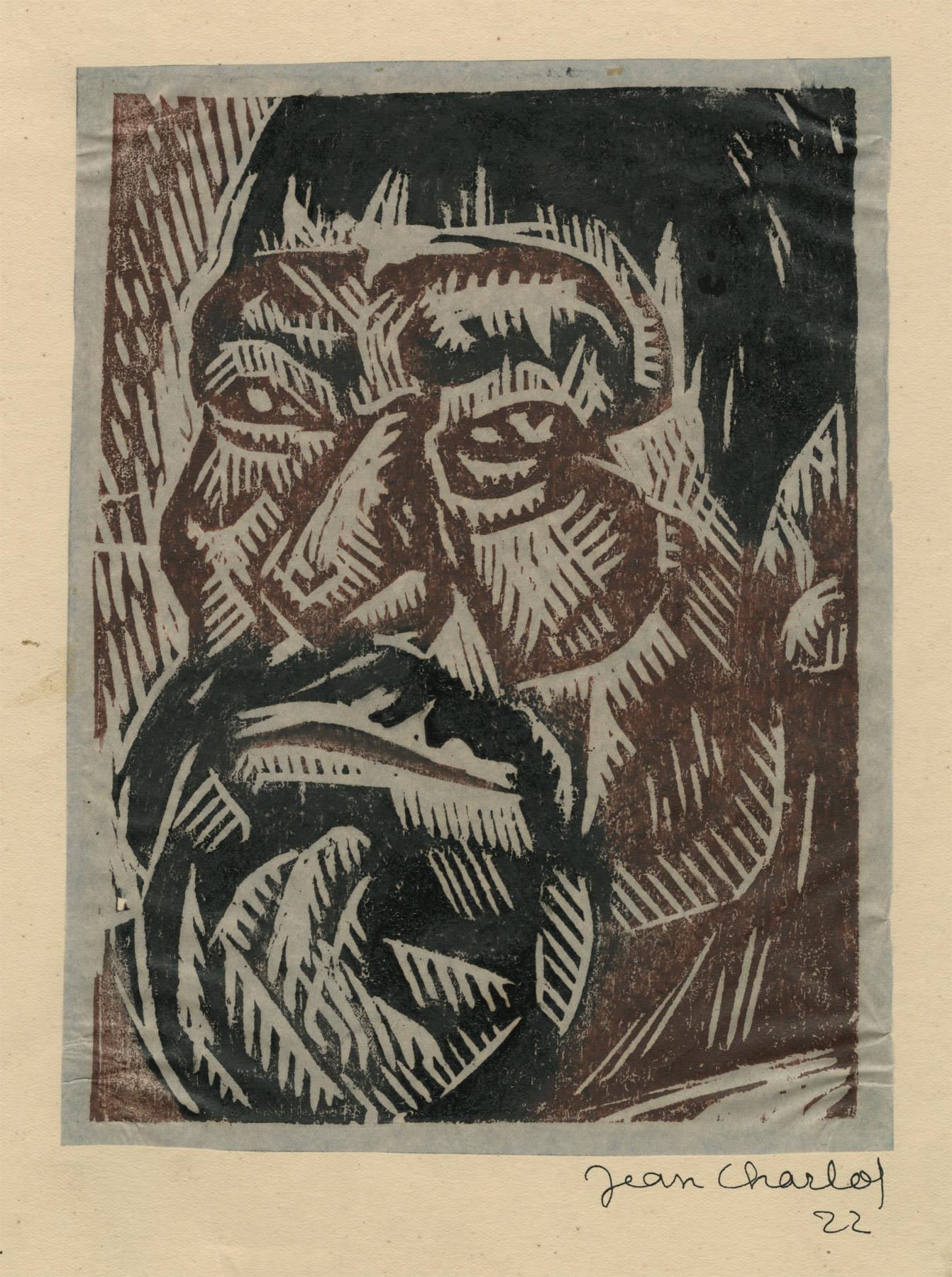 Don Poncho woodcut portrait by Charlot