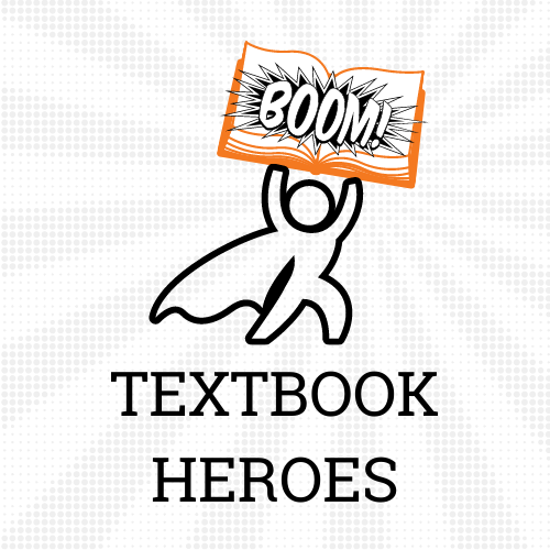 ISU Textbook Heroes logo contains clipart of a superhero figure with a book.